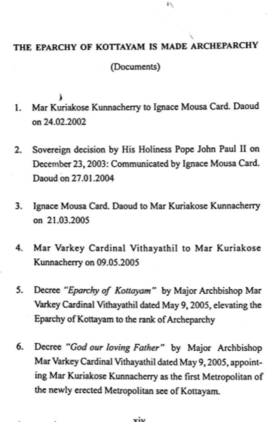 Documents related to elevation of the Eparchy of Kottayam to an Archeparchy