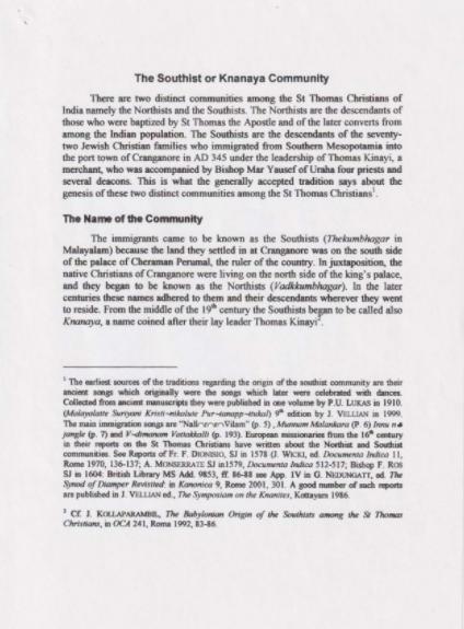 The Southists or Knanaya Community