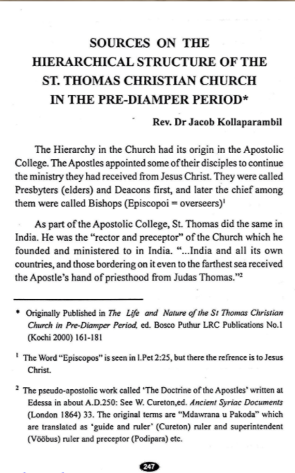 Pre-Diamper History of the Malabar Church