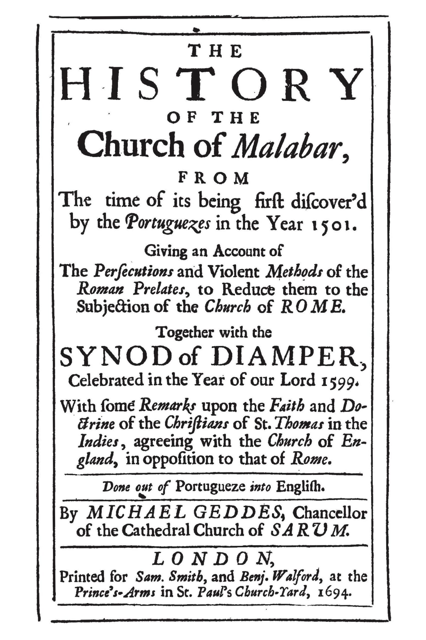 The History of the Church of Malabar