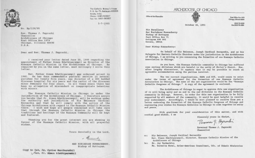Historical documents of the Knanaya Catholics in the USA