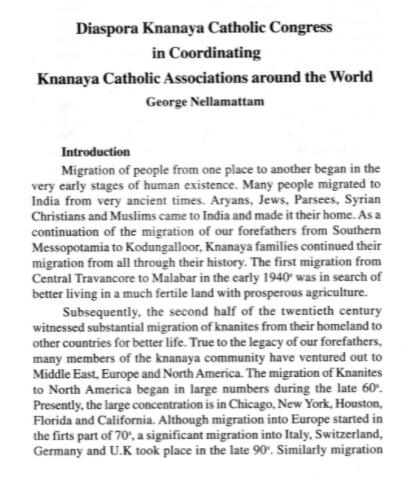Coordination of Knanaya Diaspora