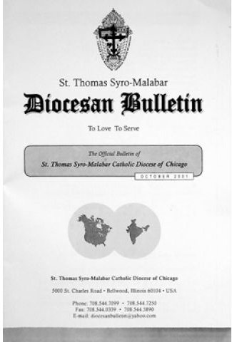 St. Thomas Syro-Malabar Diocese of Chicago Diocesan Bulletin October 2001