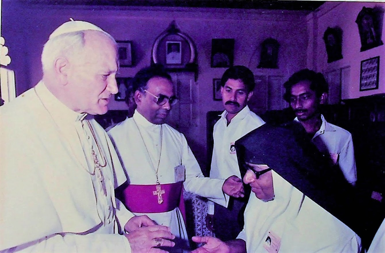Pope John Paul II's visit at Christ the King Cathedral Kottayam on February 8, 1986