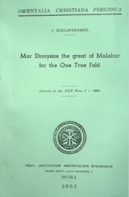 Mar Dionysios the Great of Malabar for the One True Fold