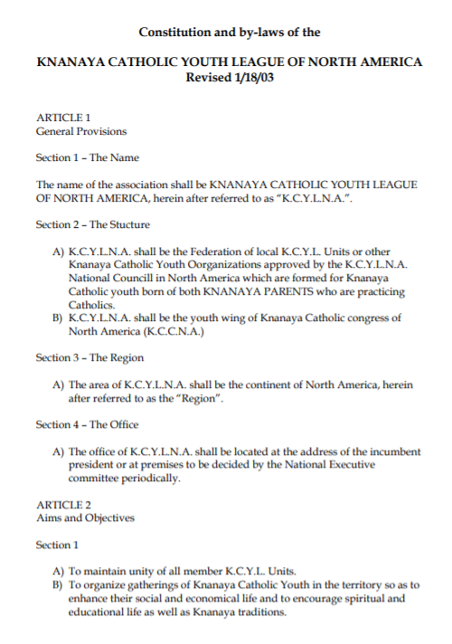 Constitution and Bylaws of KCYLNA