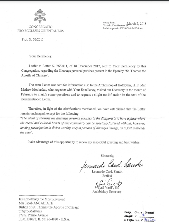 Letter from the Oriental Congregation